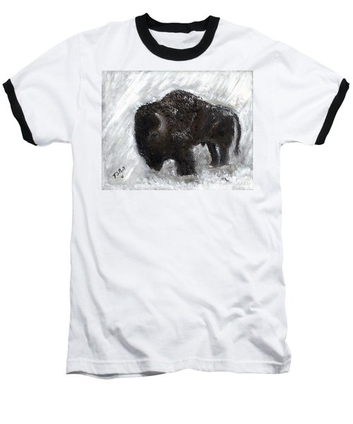 Buffalo In The Snow Baseball T-Shirt