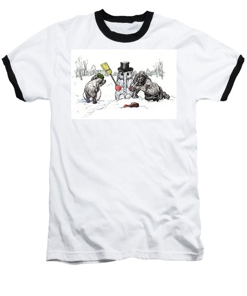 Building A Snow Elephant Baseball T-Shirt by Donna Tucker