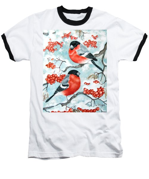 Bullfinch Couple Baseball T-Shirt