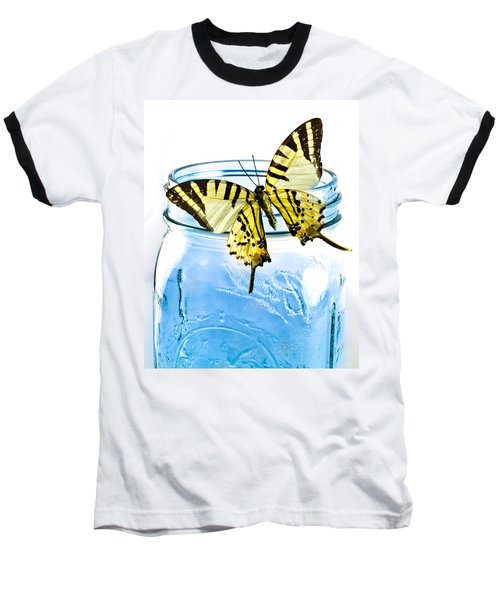 Butterfly On A Blue Jar Baseball T-Shirt by Bob Orsillo