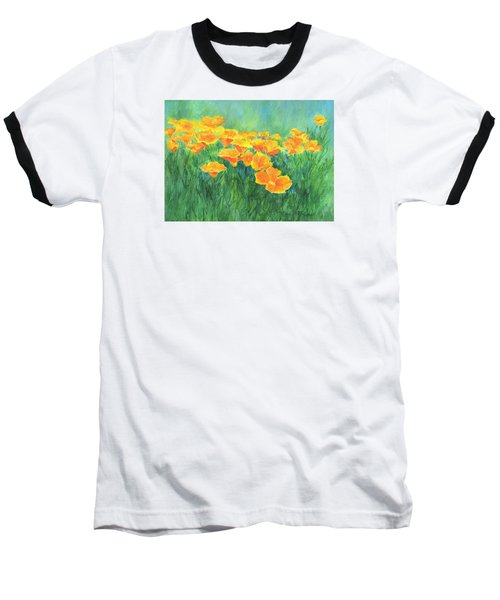 California Golden Poppies Field Bright Colorful Landscape Painting Flowers Floral K. Joann Russell Baseball T-Shirt by Elizabeth Sawyer
