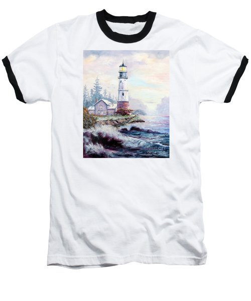 Baseball T-Shirt featuring the painting California Lighthouse by Lee Piper
