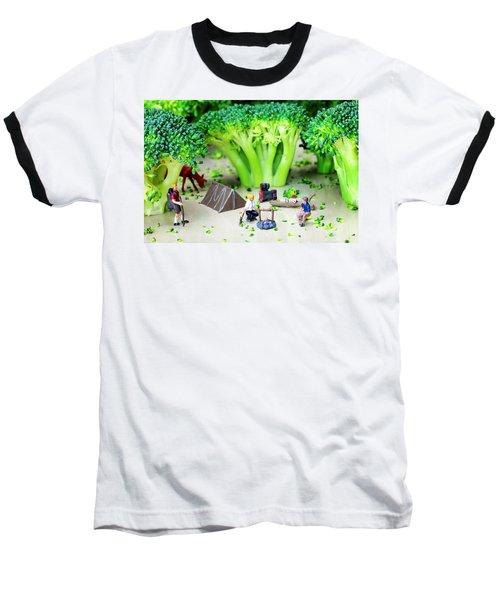 Camping Among Broccoli Jungles Miniature Art Baseball T-Shirt by Paul Ge