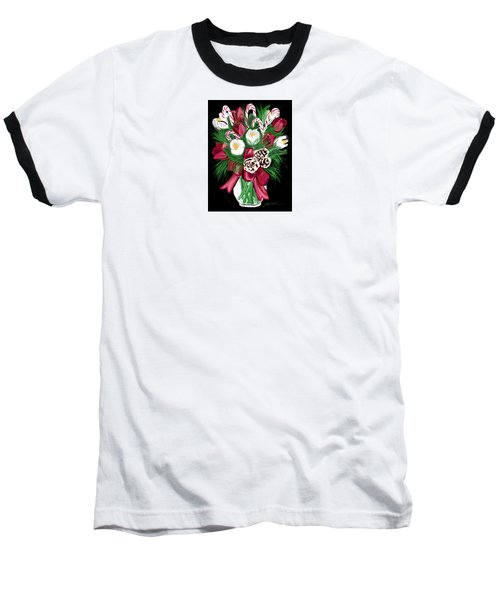 Baseball T-Shirt featuring the painting Candy Cane Bouquet by Jean Pacheco Ravinski