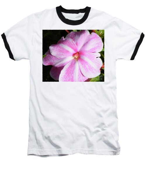 Baseball T-Shirt featuring the photograph Candy Cane Impatiens by Barbara Griffin