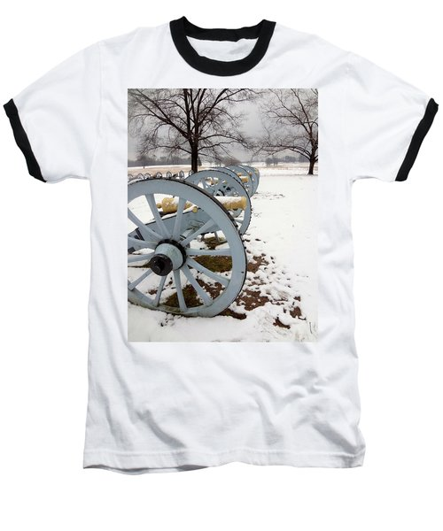 Cannon's In The Snow Baseball T-Shirt by Michael Porchik