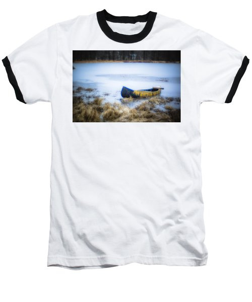 Canoe At The Frozen Lake Baseball T-Shirt