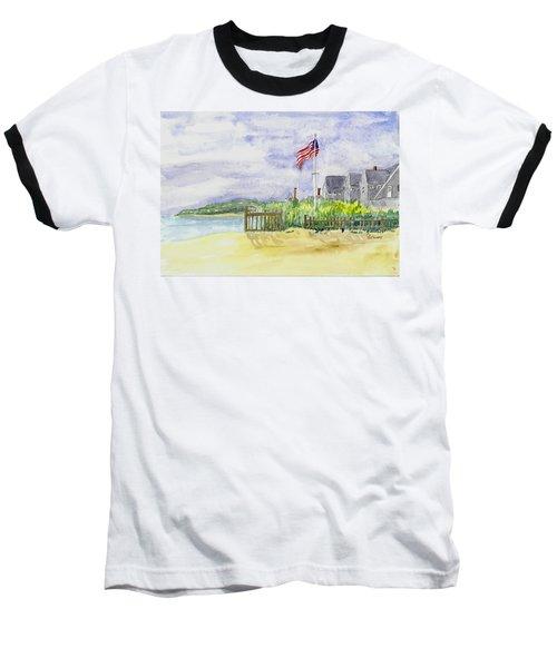 Massachusetts -cape Cod Cottages Baseball T-Shirt by Christine Lathrop