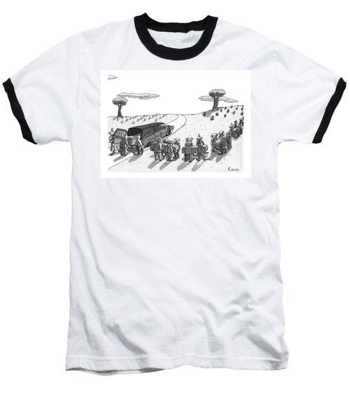 Captionless. In A Cemetery Baseball T-Shirt
