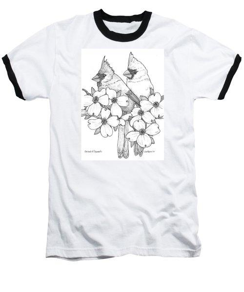 Cardinals And Dogwoods Baseball T-Shirt by Jim Harris