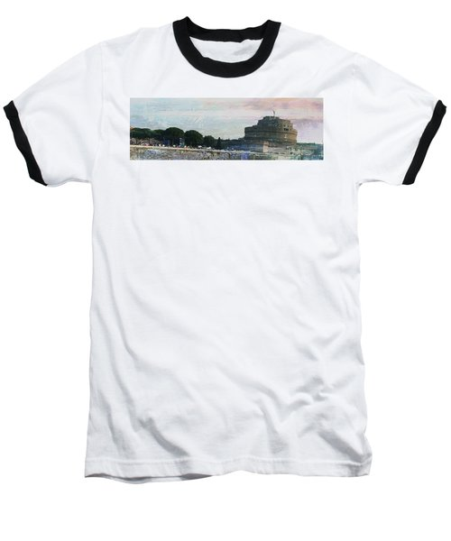 Baseball T-Shirt featuring the painting Castel Sant'angelo     by Brian Reaves