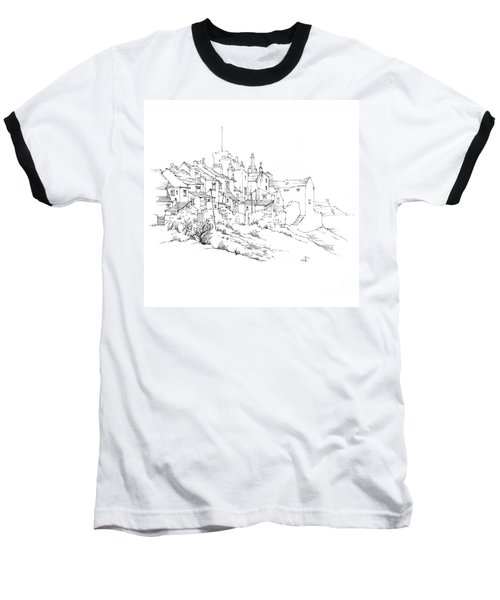 Baseball T-Shirt featuring the drawing Castletown Coastal Houses by Paul Davenport