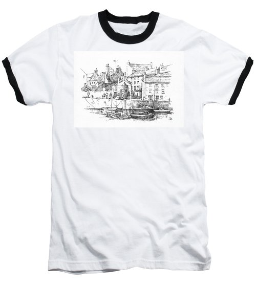 Baseball T-Shirt featuring the drawing Castletown Harbour by Paul Davenport