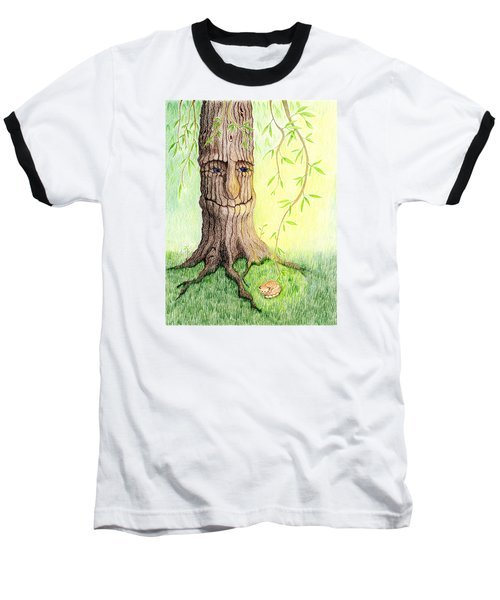 Baseball T-Shirt featuring the drawing Cat And Great Mother Tree by Keiko Katsuta