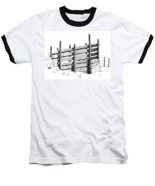 Cattle Chute Ink Baseball T-Shirt by Richard Faulkner