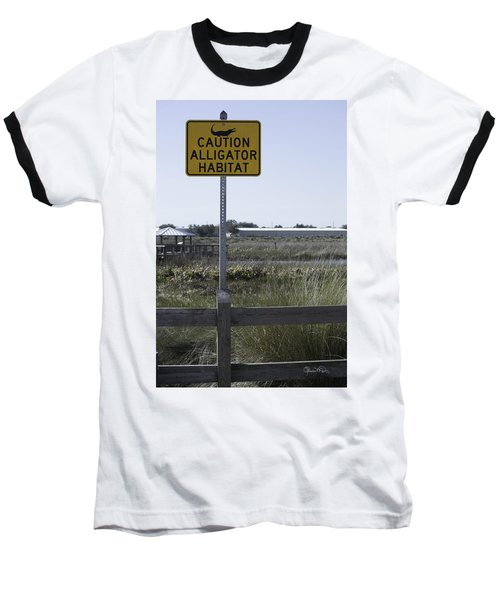 Caution Alligator Habitat Baseball T-Shirt
