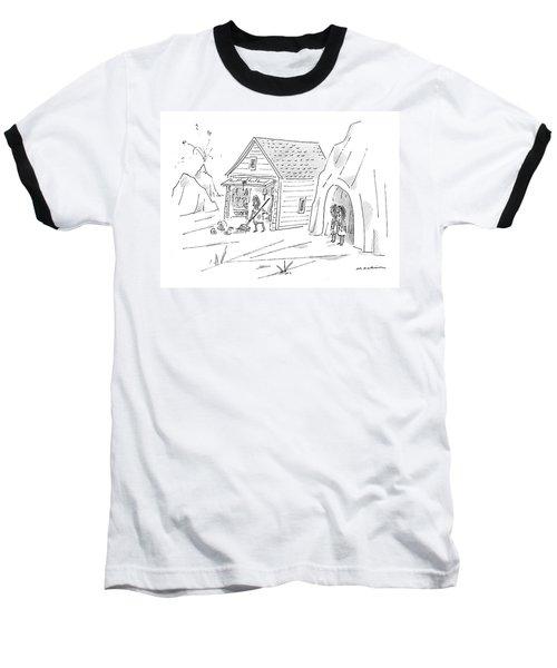Caveman Sweeping Up His Garage Baseball T-Shirt