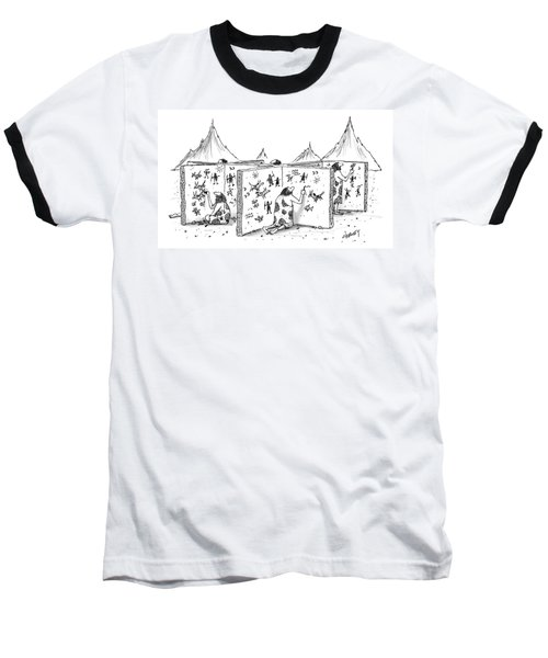 Cavemen Are Seen Carving Into Walls In The Form Baseball T-Shirt
