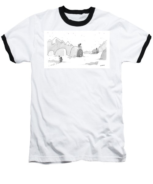 Cavemen Shoveling Out Their Woolly Mammoths Baseball T-Shirt