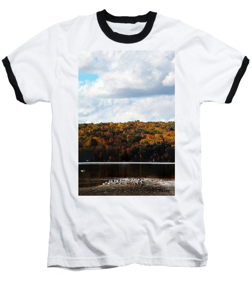 Baseball T-Shirt featuring the photograph Cayuga Lake In Colorful Fall Ithaca New York  by Paul Ge