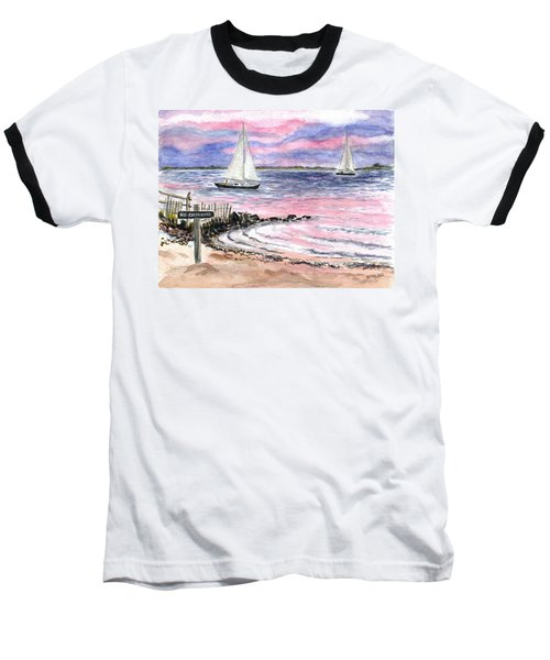 Cedar Beach Pinks Baseball T-Shirt by Clara Sue Beym