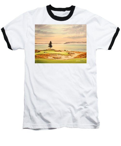 Baseball T-Shirt featuring the painting Chambers Bay Golf Course Hole 15 by Bill Holkham