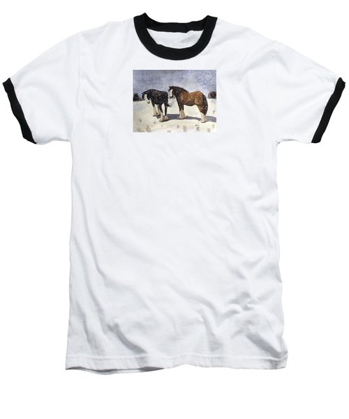 Baseball T-Shirt featuring the painting Chance Of Flurries by Angela Davies