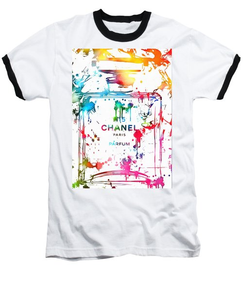 Chanel Number Five Paint Splatter Baseball T-Shirt by Dan Sproul