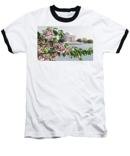 Baseball T-Shirt featuring the photograph Cherry Blossoms And The Jefferson Memorial 2 by Mitchell R Grosky