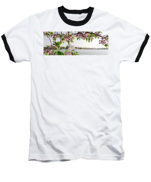 Baseball T-Shirt featuring the photograph Cherry Blossoms And The Jefferson Memorial Panorama by Mitchell R Grosky