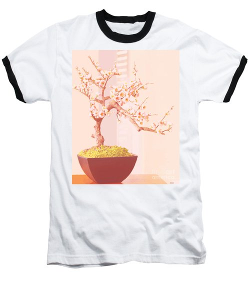 Cherry Bonsai Tree Baseball T-Shirt by Marian Cates