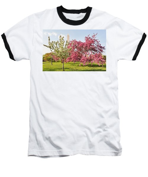 Cherry Trees And Washington Monument Three Baseball T-Shirt