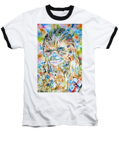 Chewbacca Watercolor Portrait Baseball T-Shirt