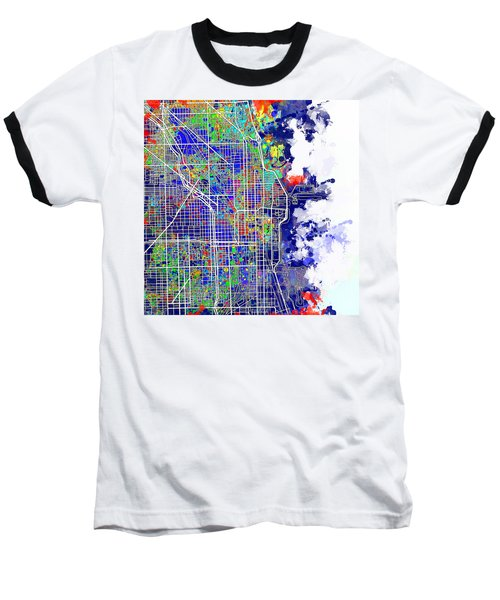 Chicago Map Color Splash Baseball T-Shirt