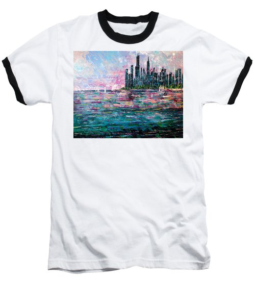 Chicago Morning - Sold Baseball T-Shirt by George Riney