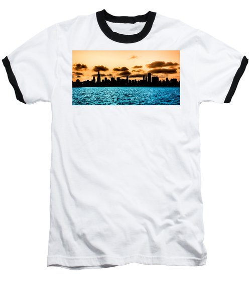 Chicago Skyline Silhouette Baseball T-Shirt by Semmick Photo