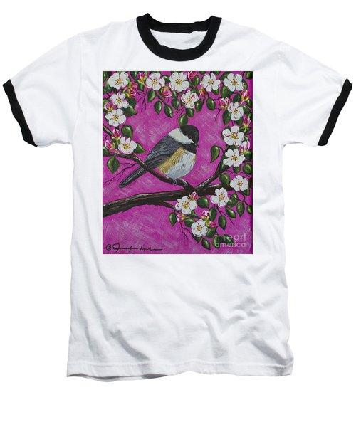 Chickadee In Apple Blossoms Baseball T-Shirt