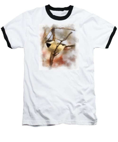 Baseball T-Shirt featuring the painting Chickadee Watercolor by Kerri Farley
