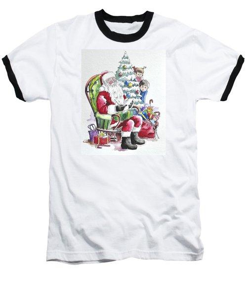 Childre Sneaking Around Santa Baseball T-Shirt