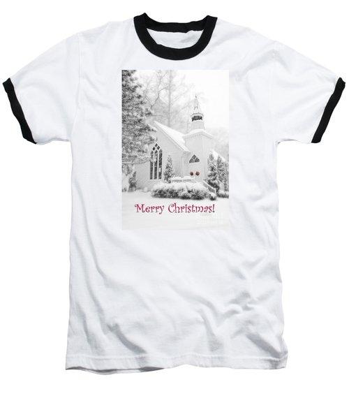 Historic Church Oella Maryland - Christmas Card Baseball T-Shirt by Vizual Studio