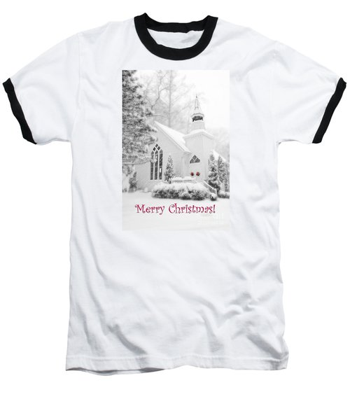 Historic Church Oella Maryland - Christmas Card Baseball T-Shirt