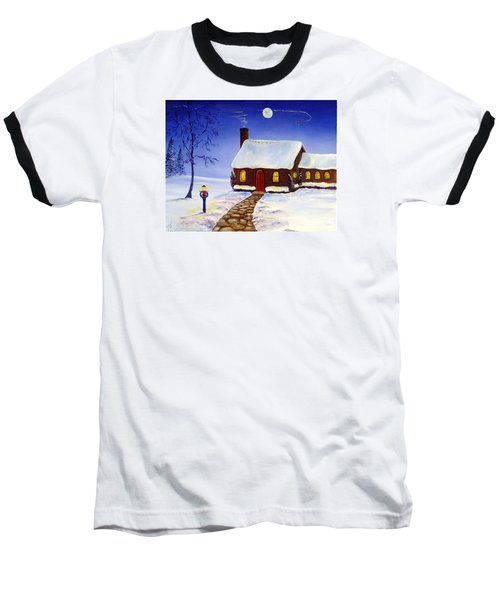 Baseball T-Shirt featuring the painting Christmas Eve by Lee Piper