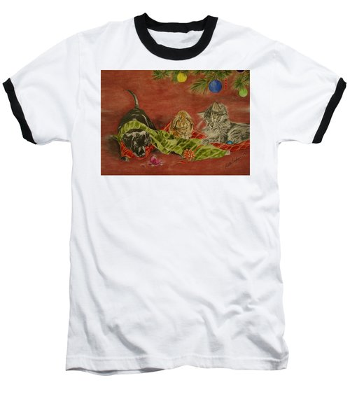 Baseball T-Shirt featuring the drawing Christmas Friends by Melita Safran
