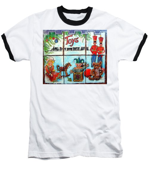 Christmas Window Baseball T-Shirt by Linda Shackelford