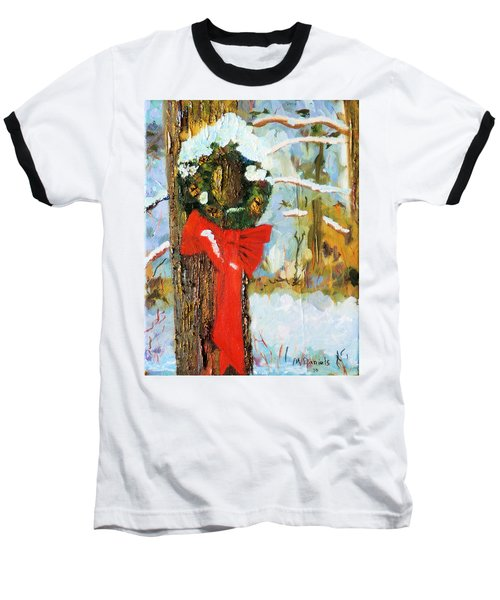 Baseball T-Shirt featuring the painting Christmas Wreath by Michael Daniels