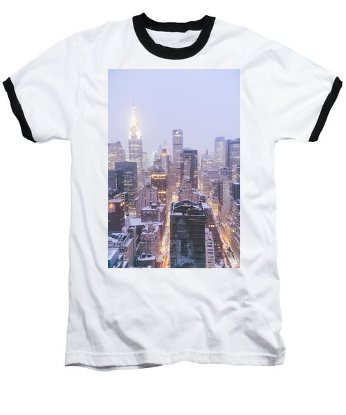 Chrysler Building And Skyscrapers Covered In Snow - New York City Baseball T-Shirt