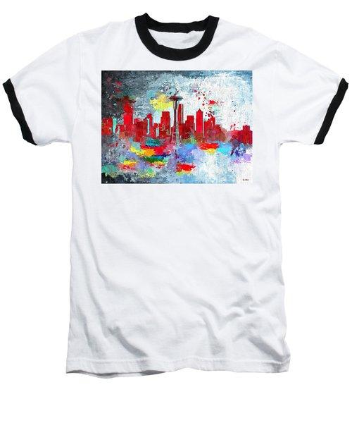 City Of Seattle Grunge Baseball T-Shirt by Daniel Janda