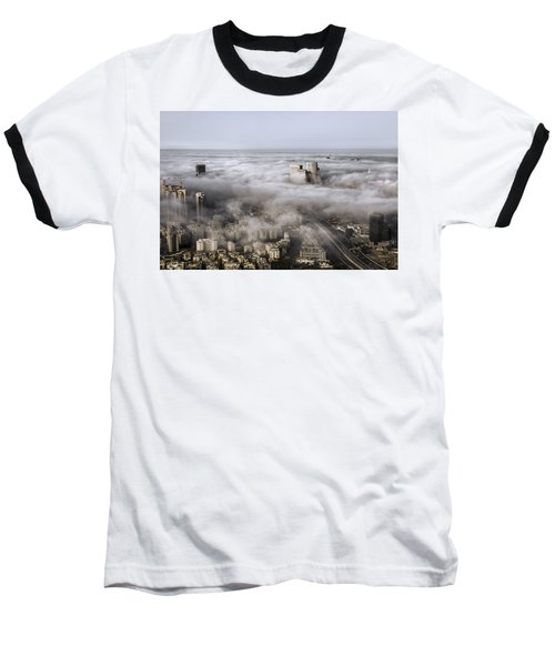 Baseball T-Shirt featuring the photograph City Skyscrapers Above The Clouds by Ron Shoshani