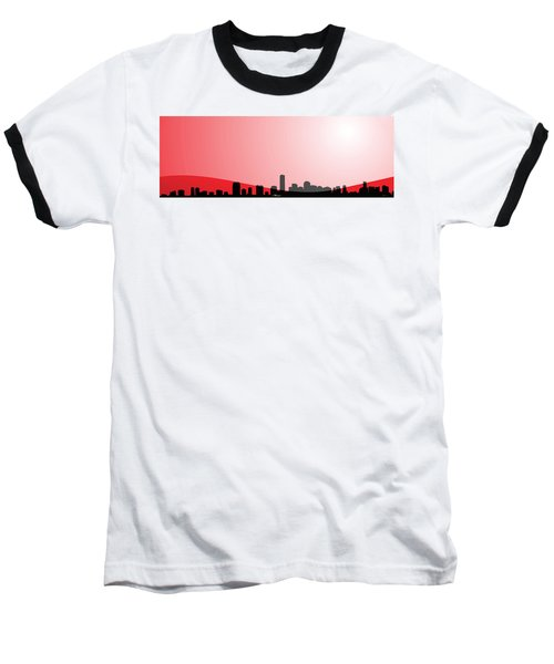Cityscapes - Miami Skyline In Black On Red Baseball T-Shirt