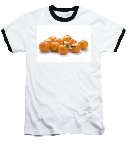 Baseball T-Shirt featuring the photograph Clementine Oranges On White by Lee Avison